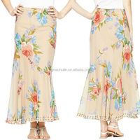 New Fashion beautiful design long skirts Casual Design Pleated Maxi Skirt