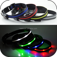 M Size LED Flashing Nylon Purple Dog Collar for Pets