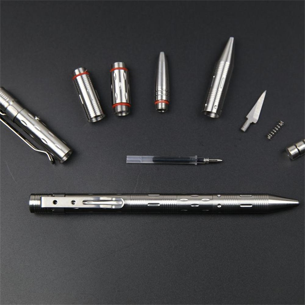 stainless steel tactical pen with led flashlight and knife and glass breaker