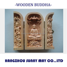 cypress wooden handcrafted buddha statue, wood carving crafts, east asia buddhism