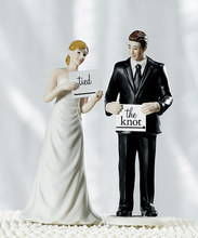 Wedding Personalized READ MY SIGN Bride and Groom Couple Figurines Cake Topper