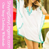 girls swimsuit White Pompom Trim Embroidered Chiffonbeach dresses wholesale