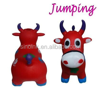 Electronic lighting music Ride-on Bouncy Animal Horse Hopper Inflatable Jumping Toys red cow