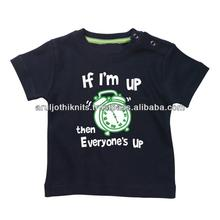 Baby boys custom printed t shirt with shoulder snap open