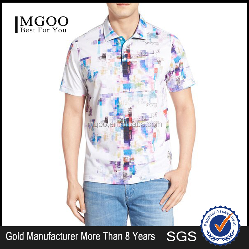 Custom made men polo shirt with multi color print for Custom tailored polo shirts