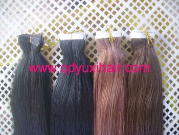 Factory 100% Remy Human Hair Pre taped Hair/Tape Hair/PU Skin Weft