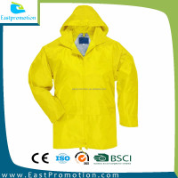 GARMENT 210T PU COATING POLYESTER RAIN COAT JACKET YELLOW WATERPROOF WOMEN WEAR