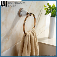 China Wholesale Printing Lines Zinc Alloy Rose Gold Finishing Bathroom Accessories Wall Mounted Towel Ring