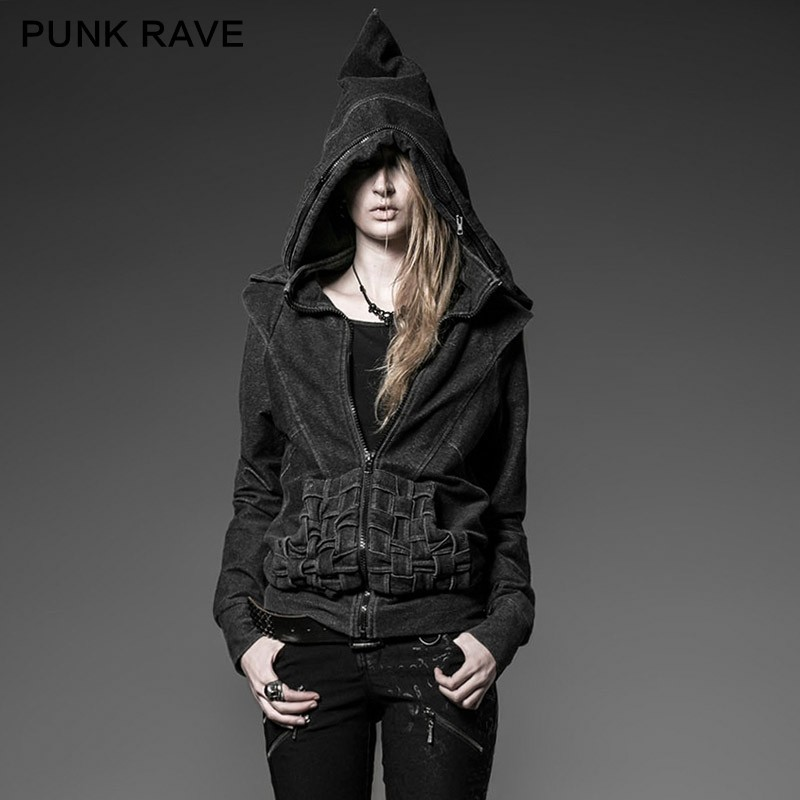 Punk Rave Hot Sale Plain Hooded Cable Knitted Hooded Cardigan Women