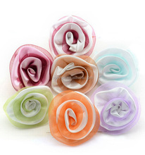 Cheap Artificial Description Silk Ribbon Volume Rose Flower FH0048B