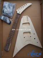 China Cheap Price unfinished DIY Flying V style Electrical Guitar Kits