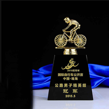 New design metal trophy crystal trophy bicycle league trophy