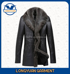2015 hot customize popular style high quality man leather jacket with fur collar