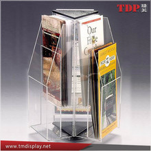 Manufacturer Rotating Tabletop Acrylic Brochure Holder, 4 Sides Acrylic Brochure Holder, Acrylic Leaflet Holder for Sales