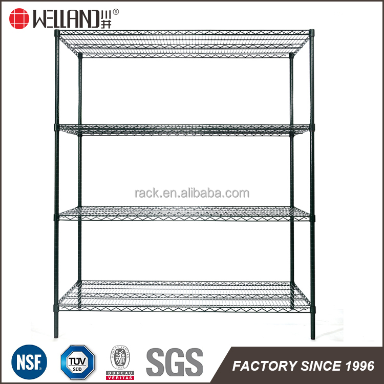 Commercial Kitchen Storage Equipment Heavy Duty 800lbs 4 Tiers Zinc Epoxy Wire Rack