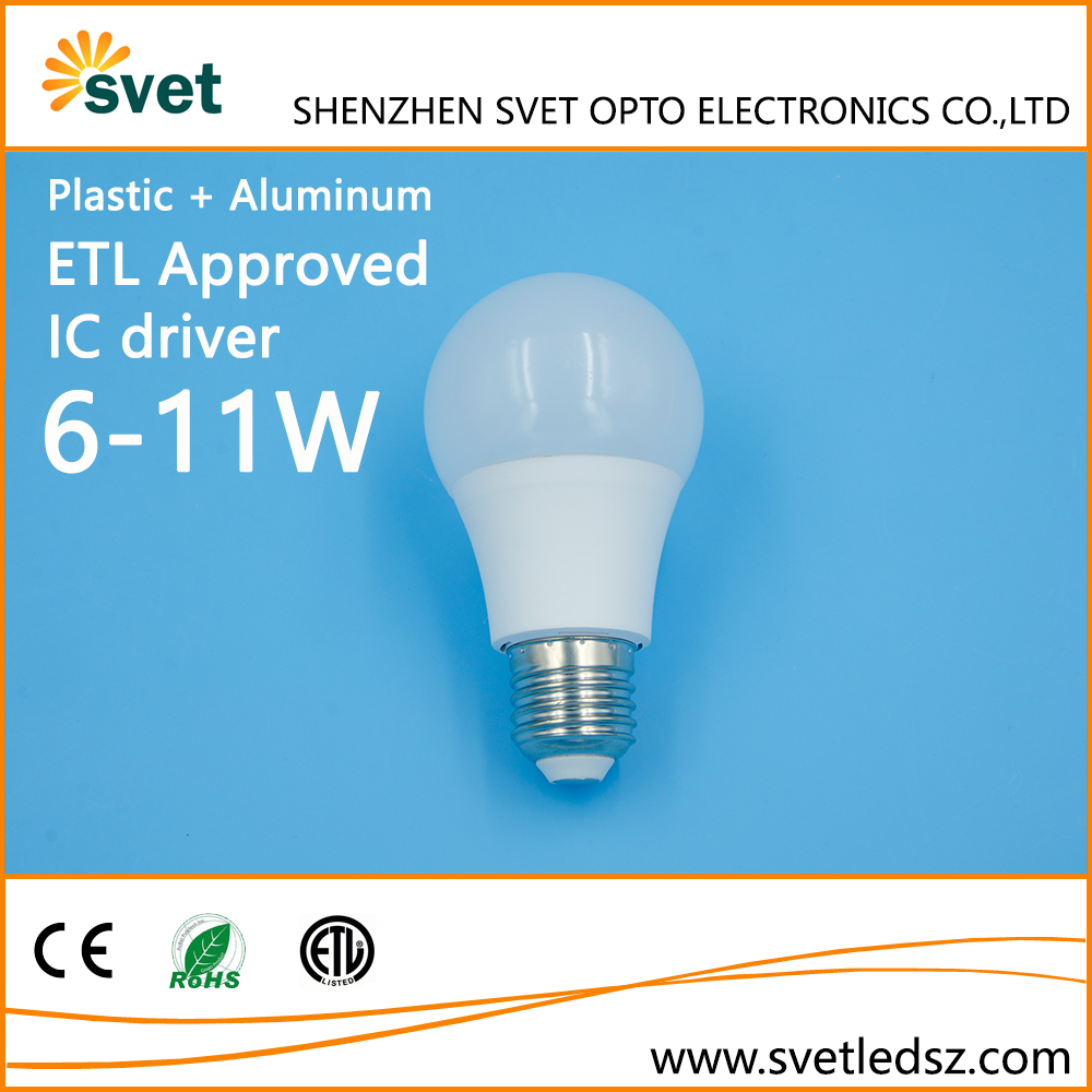 ETL Certified Milky Cover 700lm 9W E27 LED Lights Bulb Replacement for 60 watt Incandescent Lamp