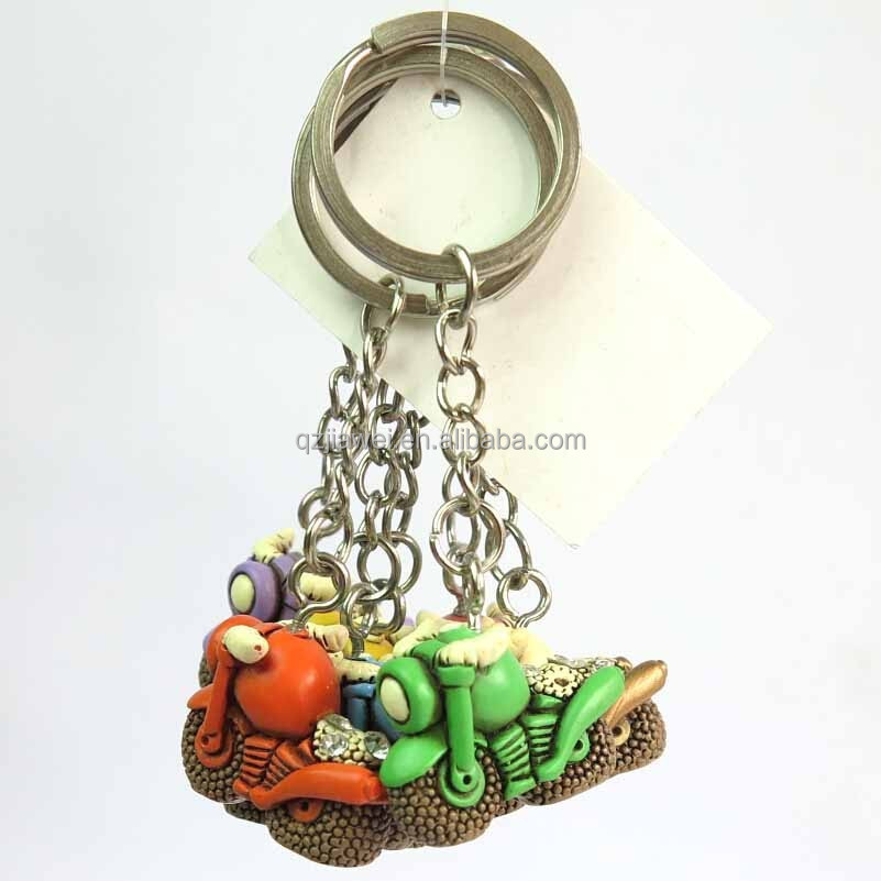 Polyresin motorcycle shape connecting metal key rings wholesale