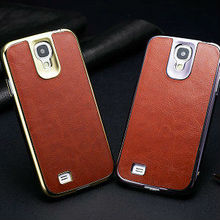 wholesale luxurious brushed metal case for samsung galaxy s4 pu leather case for samsung galaxy s4 colorful back cover for i9500