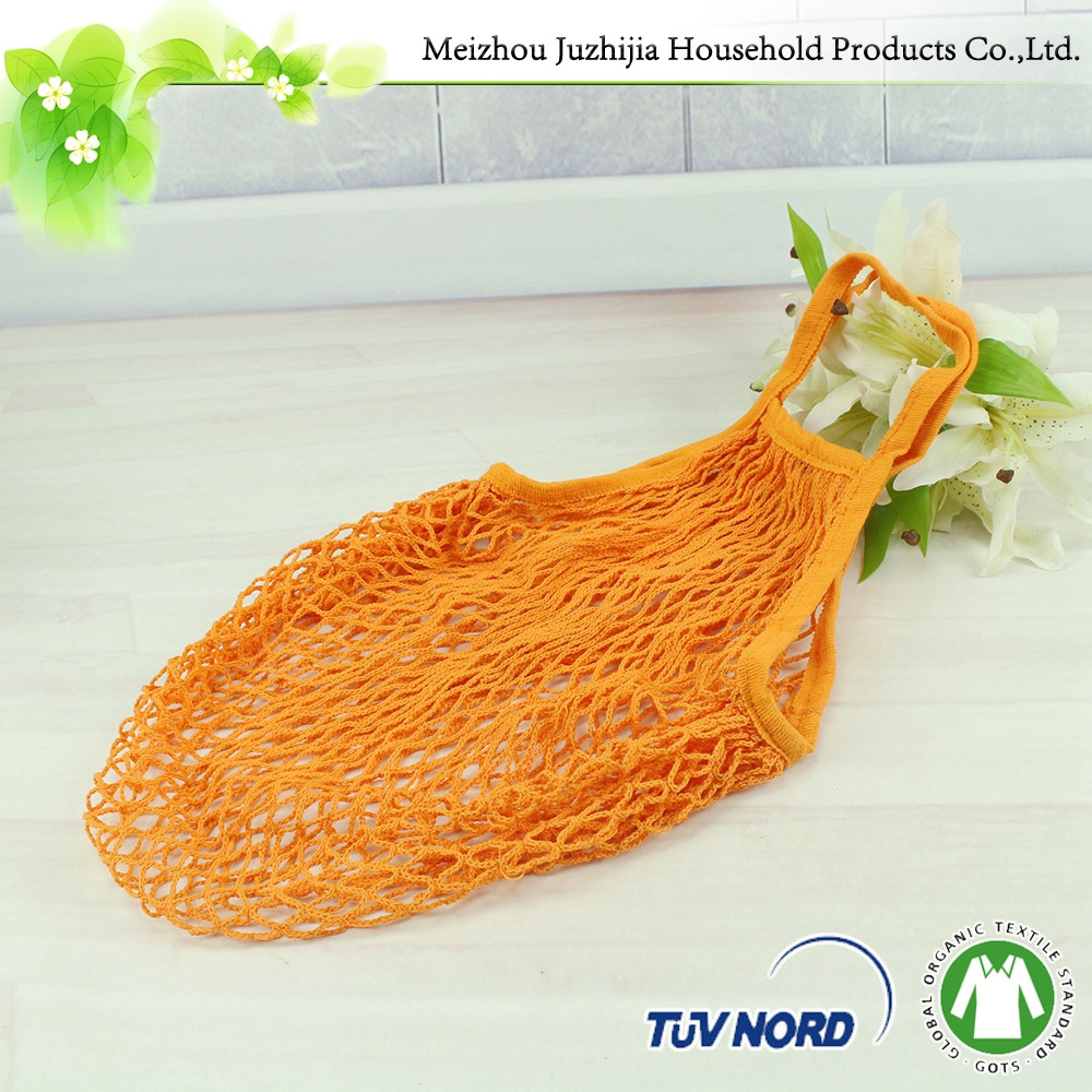 Colorful machine knitted fruit carrying cotton string bags