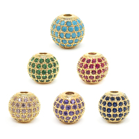 2019 yatai new product hot selling large hole round rhinestone cz micro spacer metal beads gold beads brass pave bead