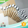Japanese wooden handle stainless steel tasting spoons/ promotional gift