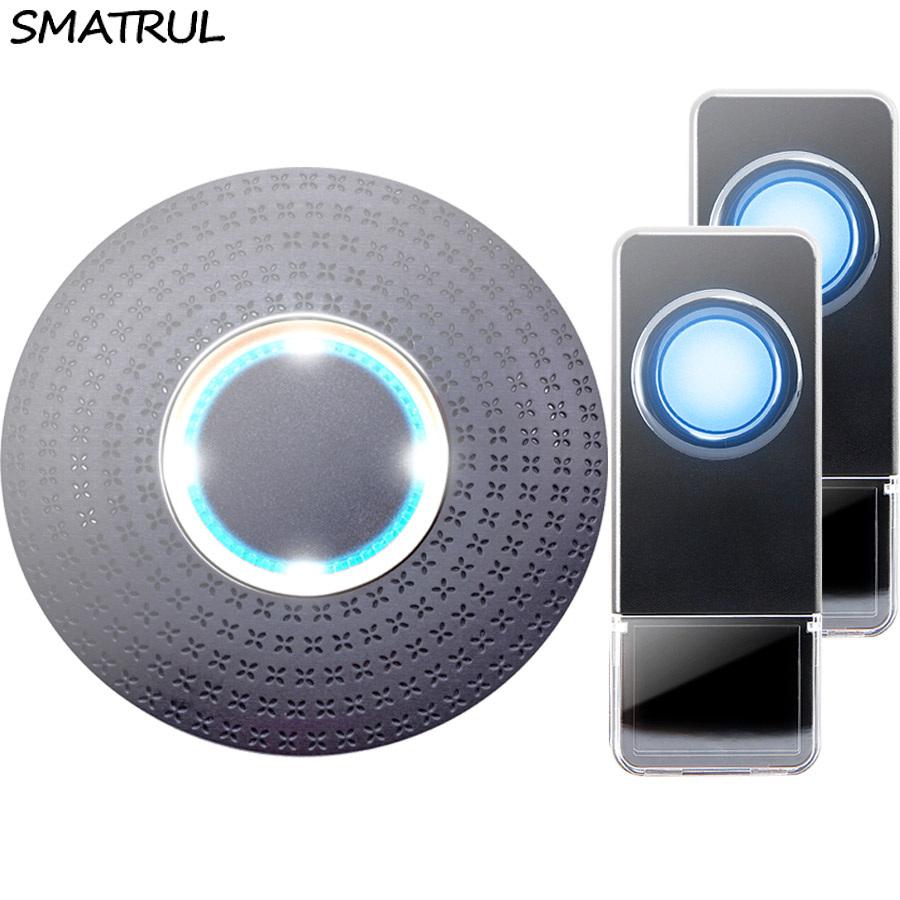 SMATRUL New Waterproof Wireless Doorbell EU Plug 300M Remote smart Door Bell Chime ring 2 button 1 receiver no battery Deaf Gorgeous lighting black