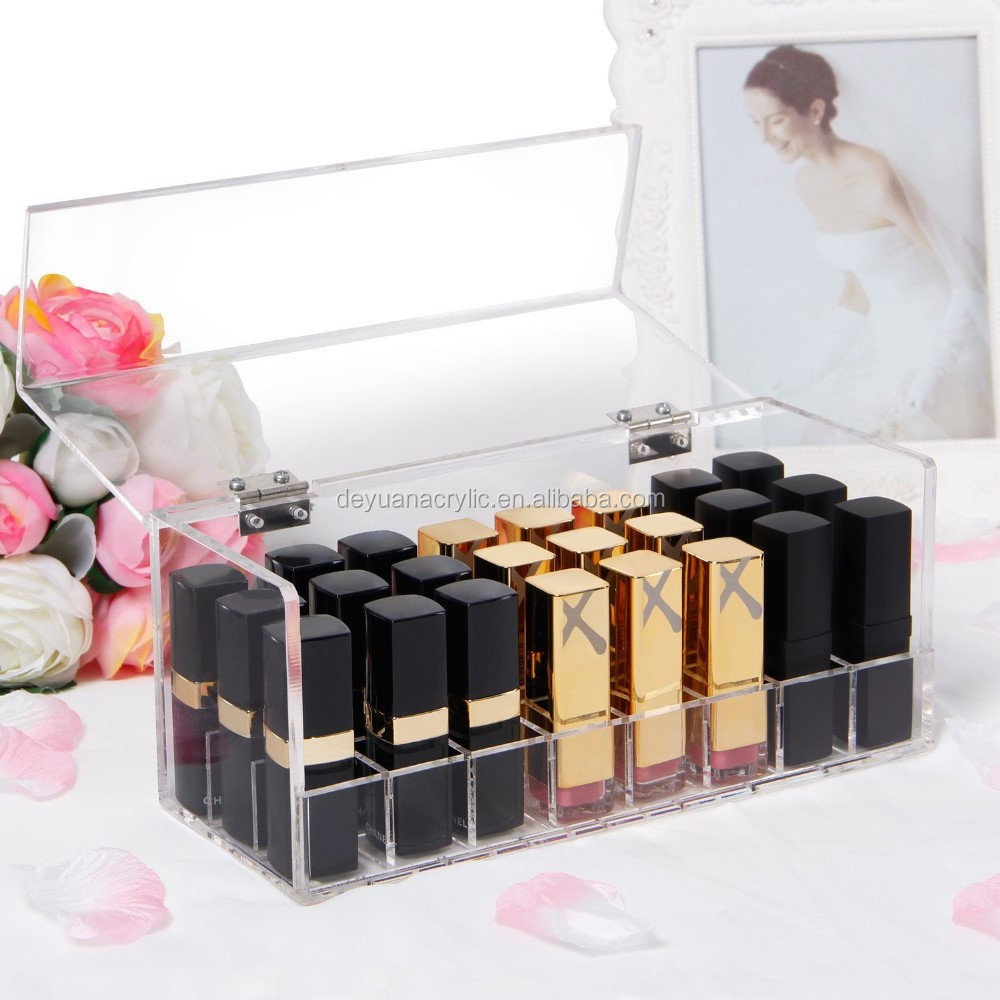 Acrylic Lipstick Holder with Lid DustProof Storage Box
