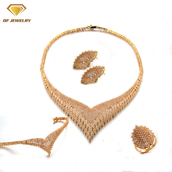 wholesale brass jewelry 18k rose gold plated stone jewelry set