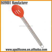 silicone draining spoon with stainless steel handle