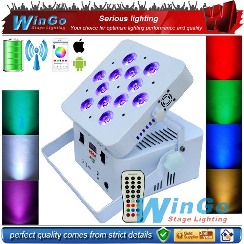 colorful led uplight for wedding dj club events wireless battery flat par RGBWA UV 6 in <strong>1</strong>