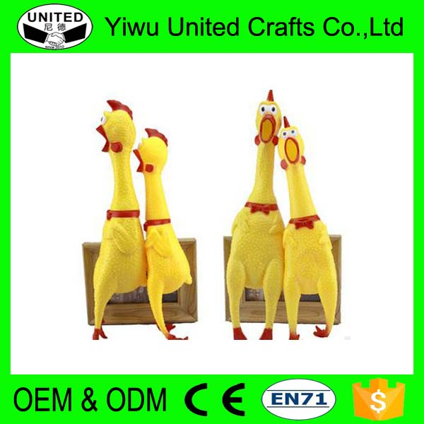 Creative Yellow Press Squeaky Screaming Rubber Chicken for Dog Toy