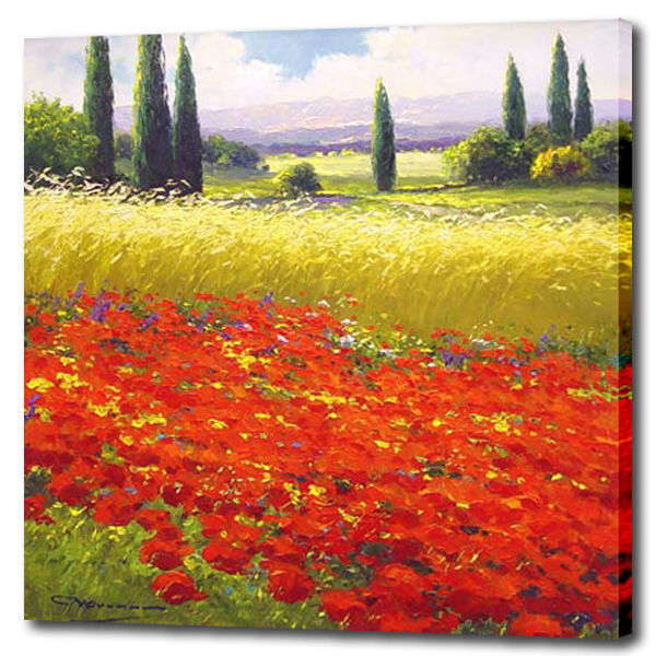 Natural flower field oil painting autumn pictures for home wall decoration