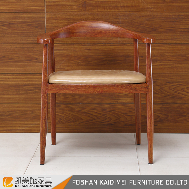 Simple restaurant furniture upholstered wood frame dining chair with arms