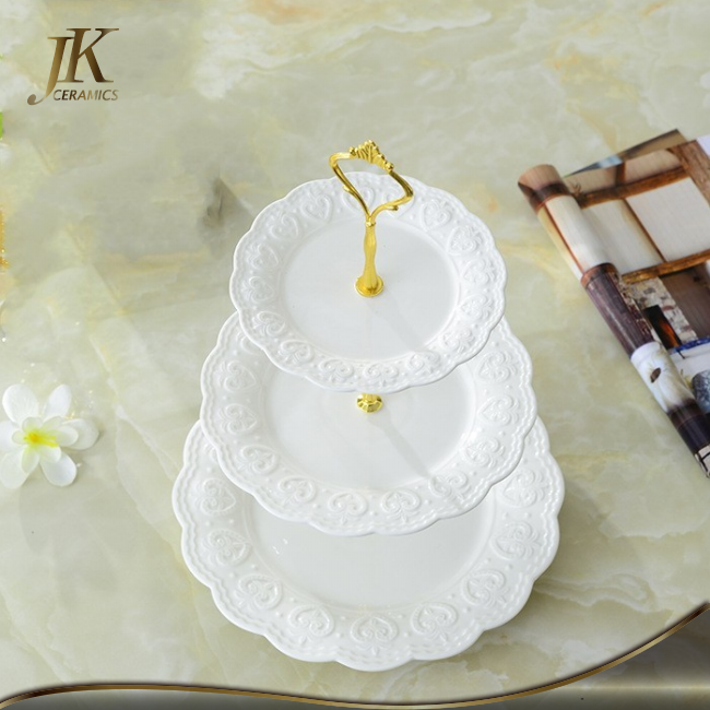 Good quality gold silver cup cake stand 3 tier cake stand embossed stand for wedding cake