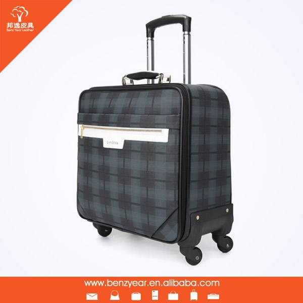 14 inch , 4 Wheels , soft PVC case , nylon zipper trolley travel luggage bag