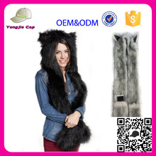 New Arrival Panda Tiger Wolf Animal Hood Faux Fur Men Women Hat Animal Ears Long Fur Hat with paws