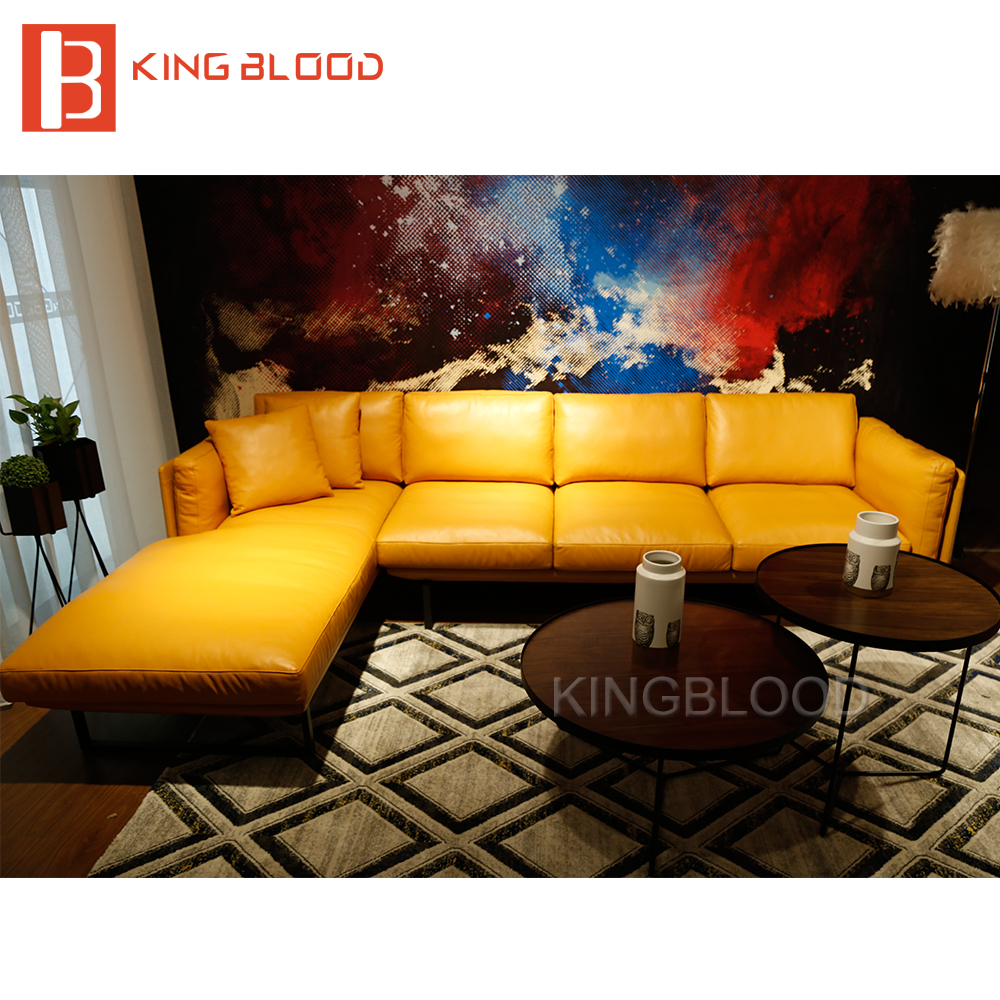 Latest Yellow color italy genuine Nappa <strong>leather</strong> <strong>L</strong> shape corner sofa design for living room