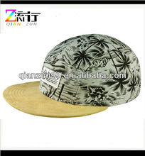 grey and black coconut palm suede brim 5 panel hat