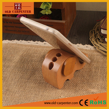 Multi-purpose elephant decorative wooden carved phone stand also pen holder