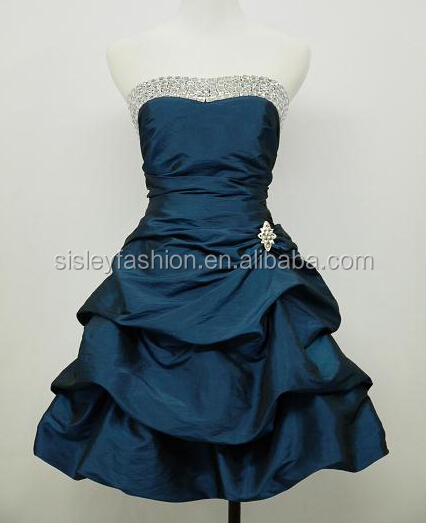 BLUE SATIN STRAPLESS SPARKLE SEXY PARTY PROM BALL COCKTAIL DRESS UK 18