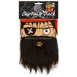 fake mustache beard beads accessories Black Pirate Moustche Fancy Dress Up Captain Jack sparrow costume QMTH-2009