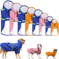 Large Dog Adjustable Pet Water Proof Clothes Lightweight Raincoats Poncho Hoodies with Strip Reflective