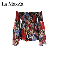 Latest Slash Neck Designs Sexy Flare Sleeve Chiffon Flower Printed Blouse