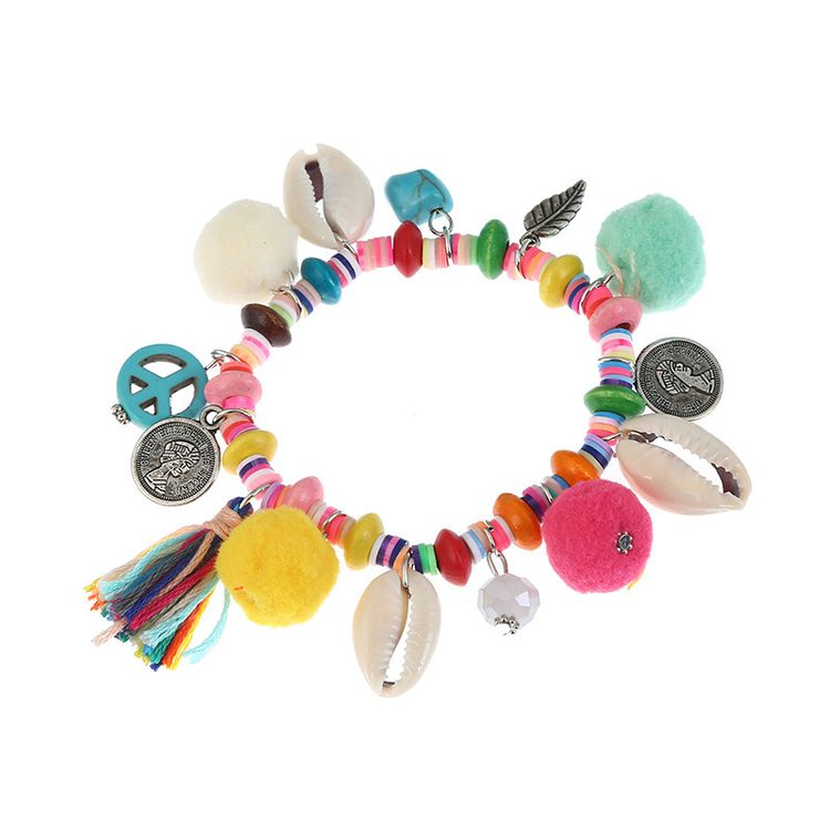 Colorful Beaded Pom Pom Tassel Friendship Peace Love Turquoise Beaded Hanging Leaf Coin Ans Shell Pendant Charm Bracelet