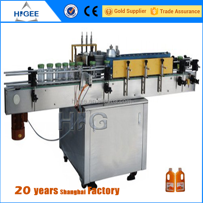 Hot melt adhesive plastic and glass bottle labeling machine with automatic wet glue