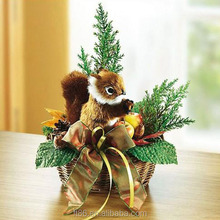 small plush miniature christmas feathered squirrel decoration