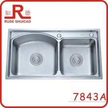 7843A one pcs pressing double bowl kitchen sink