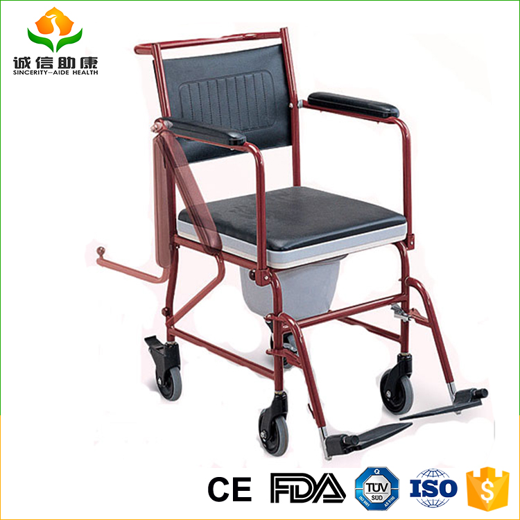 Best selling portable steel patients used toilet commode chair wheelchair using in hospital