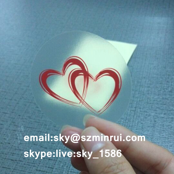 Red Heart Printed Round Clear Polyester Labels,Custom Design Self Adhesive Clear Sticker