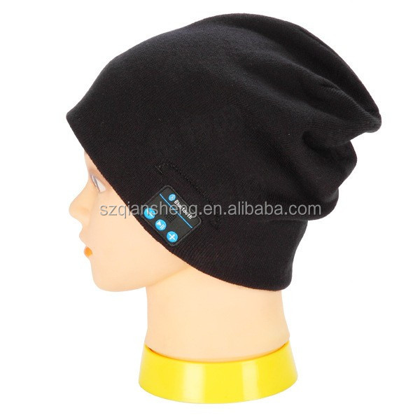 Promotional bluetooth winter warm custom knitted beanie with bluetooth headphone hat